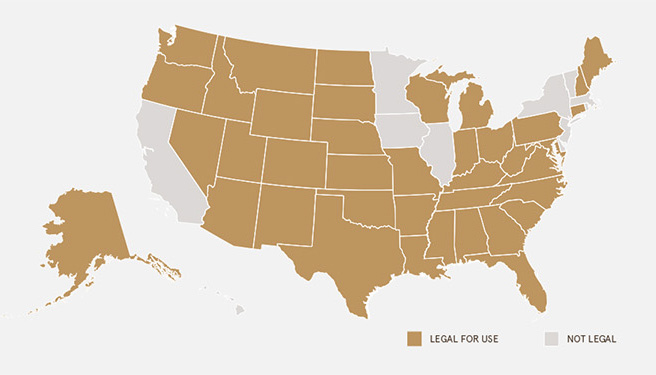 States that allow citizens to own Silencers